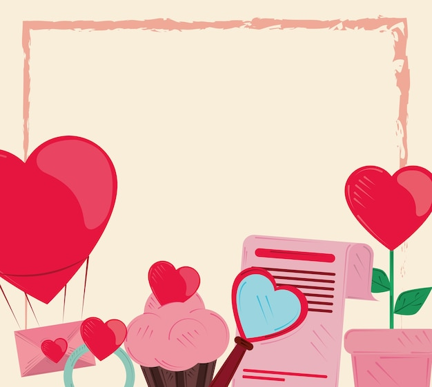 Valentines day, celebration romantic cupcake letter balloon and flower illustration