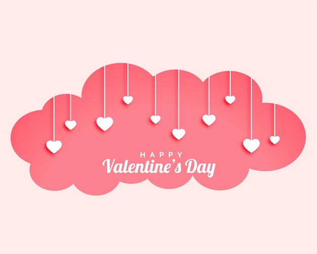 Valentines day cloud with hanging hearts design