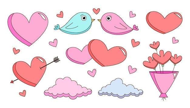 평면 디자인 된 요소의 발렌타인 데이 컬렉션