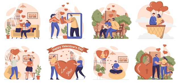 Valentines day collection of scenes isolated people go on romantic dates love and relationships