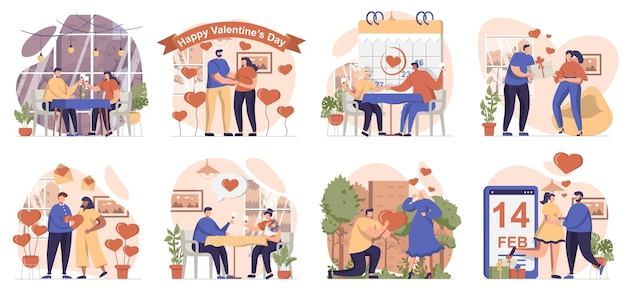 Valentines day collection of scenes isolated people in love relationship celebrate romantic holiday