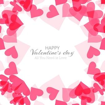 バレンタインデーのカラフルなハートカードの背景