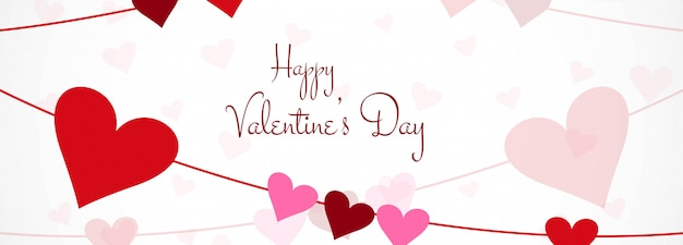 Valentines day colorful hearts card header template design