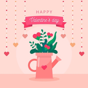 Valentines day concept. flower pot in watering can shape on pink background with beautiful hearts and text.