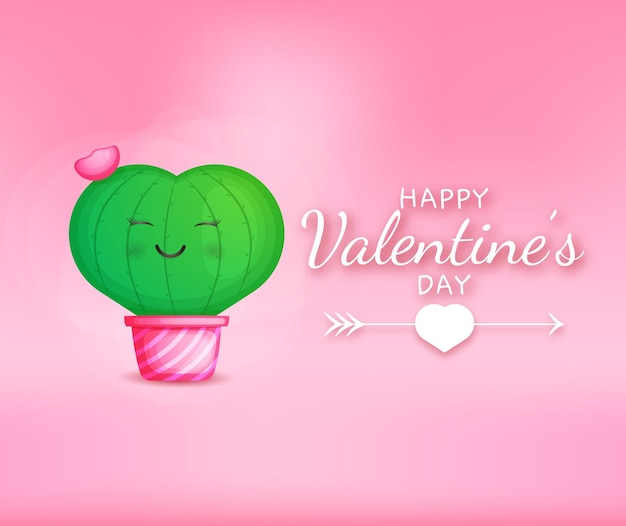 Valentines day congratulations text with love cactus shape