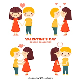 Valentines day couple collection in flat style