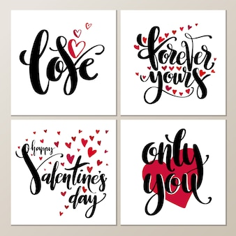 Valentines day creative artistic hand drawn cards set.