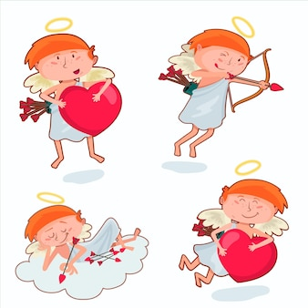 Valentines day cupid character set
