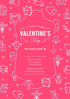 Valentines day design card divided on two parts with words about traditional day of lovers in centre of decorative frame illustration