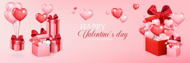 Valentines day design with heart shaped balloons