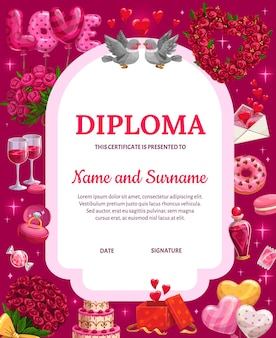 バレンタインデーの卒業証書、漫画のバレンタインのお祝いの属性の心を持つ証明書