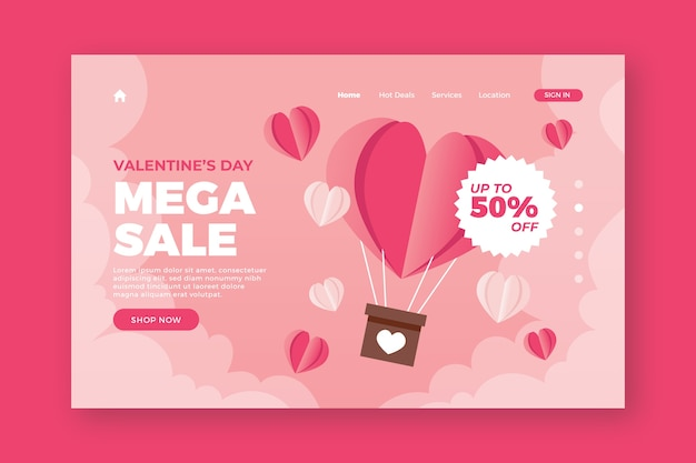 Valentines day discount landing page
