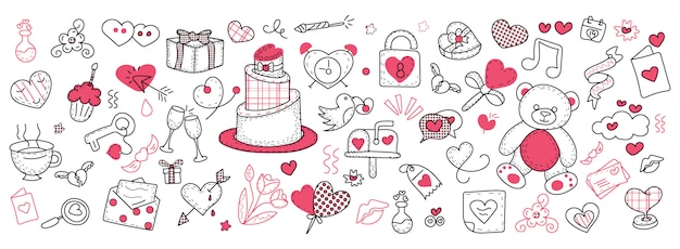 Valentines day doodle banner