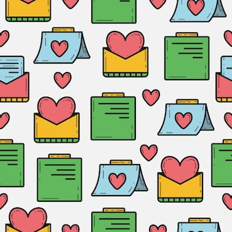 バレンタインデー落書きシームレスパターン