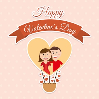 Valentines day over dotted background vector illustration