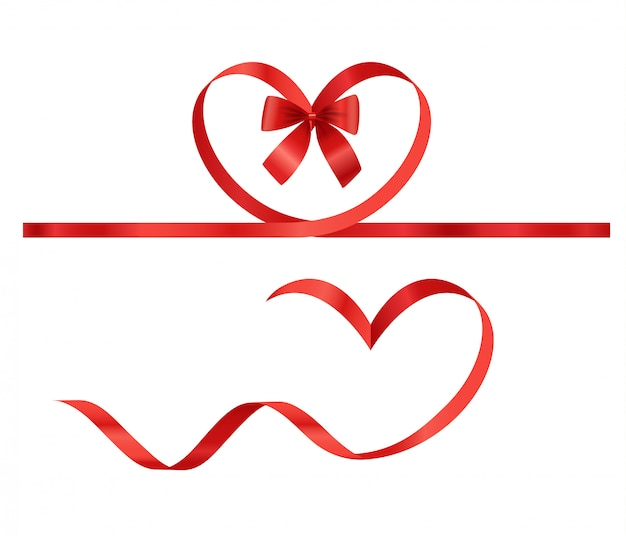 Valentines day elements. vector ribbons