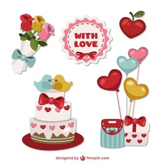 Valentines elementi giorno con amore