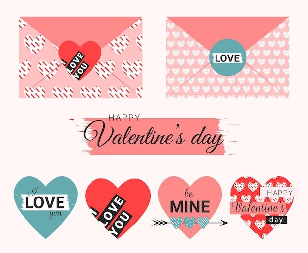 Конверты на день святого валентина с сердечками и текстом в плоском стиле