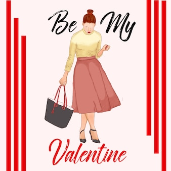 Valentines day fashion illustration red outfit paris