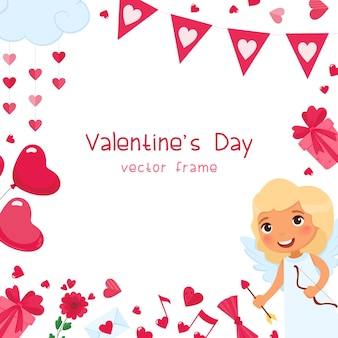 Valentines day festive romantic square frame template. pink hearts, presents and balloons accessories. february 14 holiday greeting card design. cupid with arrow character
