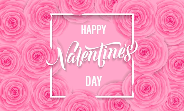 Valentines day floral greeting card of pink roses pattern background and lettering text.