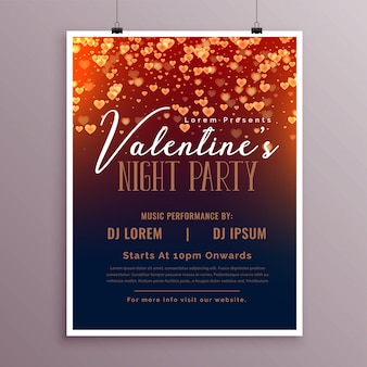 Valentines day flyer template with falling hearts