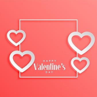 День Святого Валентина рамка с фоном сердца