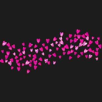 ピンクのキラキラハートのバレンタインデーフレーム。 2月14日。バレンタインデーフレームテンプレートのベクトル紙吹雪。グランジ手描きのテクスチャ。チラシ、特別ビジネスオファー、プロモーションのテーマが大好きです。