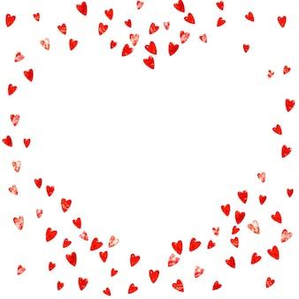 ピンクのキラキラハートのバレンタインデーフレーム。 2月14日。バレンタインデーフレームテンプレートのベクトル紙吹雪。グランジ手描きのテクスチャ。ポスター、商品券、バナーの愛のテーマ。