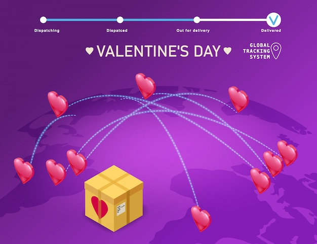 Valentines day gift boxes delivery, map earth delivery tracking logistics cargo illustration