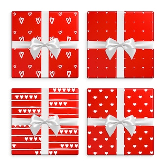 Valentines day gift boxes set. unique collection of gifts with patterns