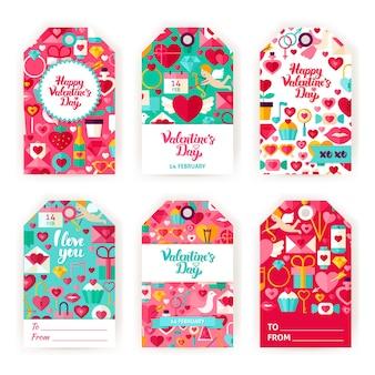 Этикетки подарка дня святого валентина. плоские векторные иллюстрации тегов праздник любви.