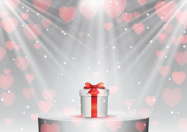 Valentines day gift on a podium under spotlights