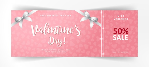 Valentines day gift voucher. commercial discount coupon. pink background with white lettering.