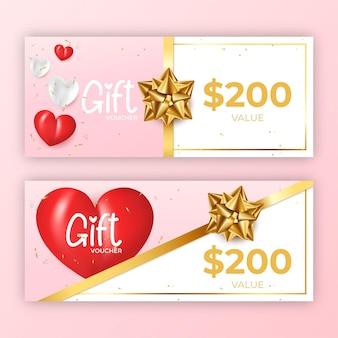 Valentines day gift voucher template Premium Vector