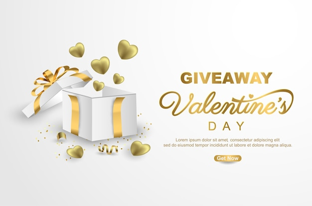 Valentines day giveaway banner template design with gift box on white