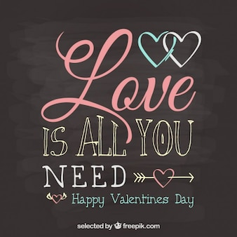 Valentines day greeting on blackboard