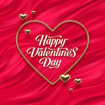 Приветствие дня святого валентина. каллиграфия и реалистичные золотые металлические сердца на фоне красных жидких волн.