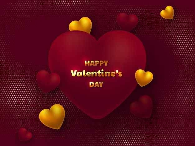 Valentines day greeting card. 3d hearts and greeting golden text