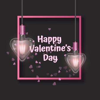 Valentines day greeting card decorated with heart shaped light bulbs greeting card