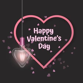 하트 모양의 전구 인사말 카드로 장식된 발렌타인 데이 인사말 카드