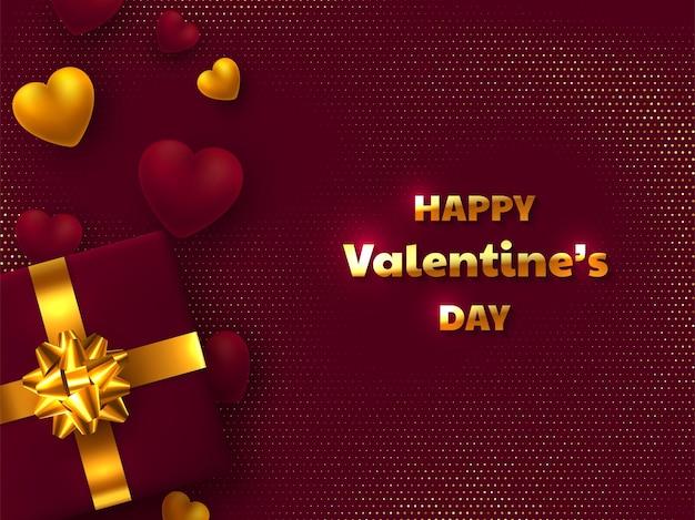 Поздравительная открытка дня святого валентина. подарочная коробка с золотым бантом, 3d сердечками и поздравительным текстом