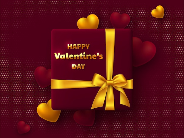 Valentines day greeting card. gift box with golden bow, 3d hearts and greeting text