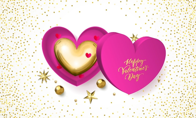 Valentines day greeting card of heart gift box decoration with chocolate candy in golden wrapper.