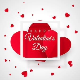 バレンタインの日グリーティングカードテンプレート。 2つの大きな心と白いフレーム。あなたの愛のためのロマンチックなポストカード。白い背景の上の図