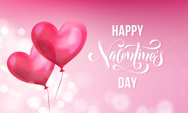 Valentines day greeting card of valentine red heart balloon on pink light shine background.