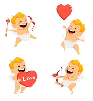 Valentines day greeting card with cheerful cupid, set of smiling cartoon character on white background, vector illustration
