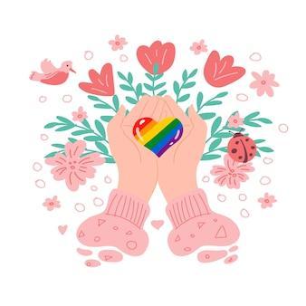 다채로운 마음으로 발렌타인 데이 인사말 카드 무지개 마음 lgbt와 로맨틱 카드 개념