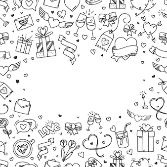 Valentines day greeting card with copy space. doodling style illustration