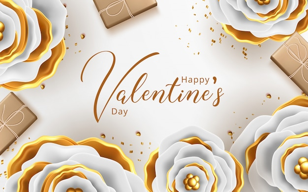 Valentines day greeting card with flowers background